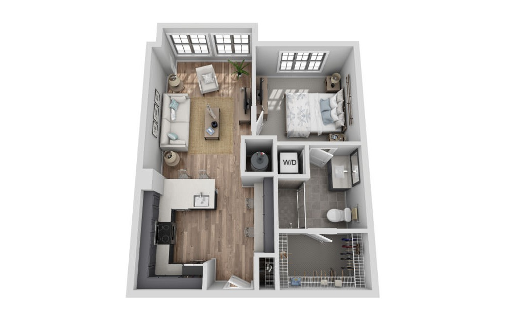 A-1A1 ANSI - 1 bedroom floorplan layout with 1 bath and 682 square feet. (3D)