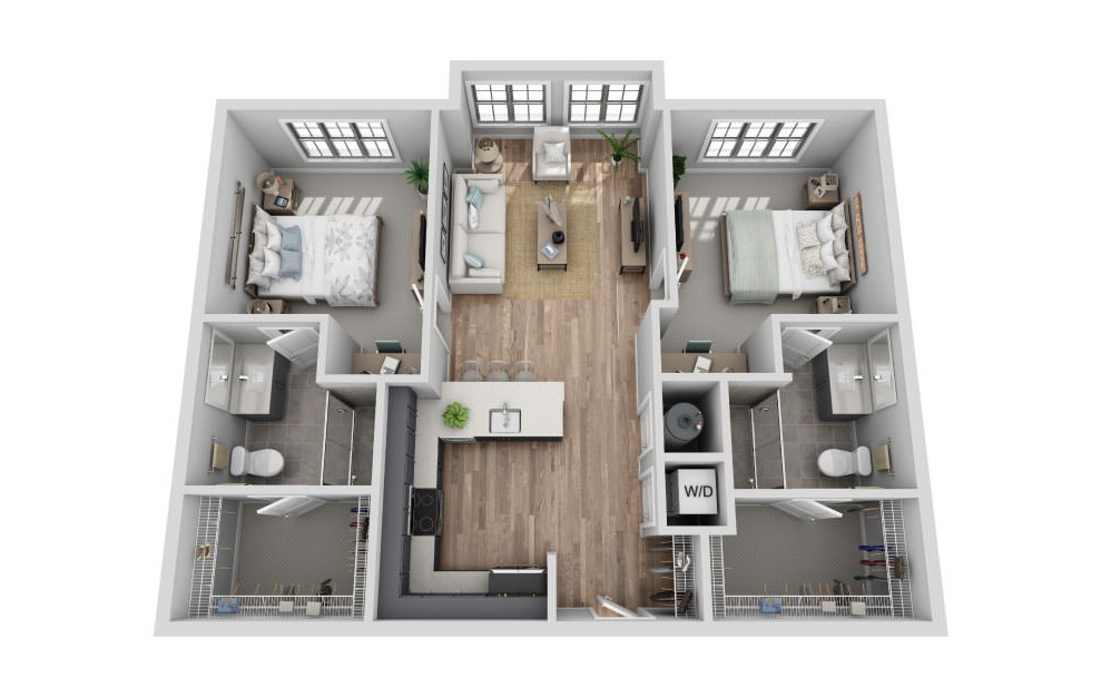 A-2A1 - 2 bedroom floorplan layout with 2 baths and 1009 square feet. (3D)