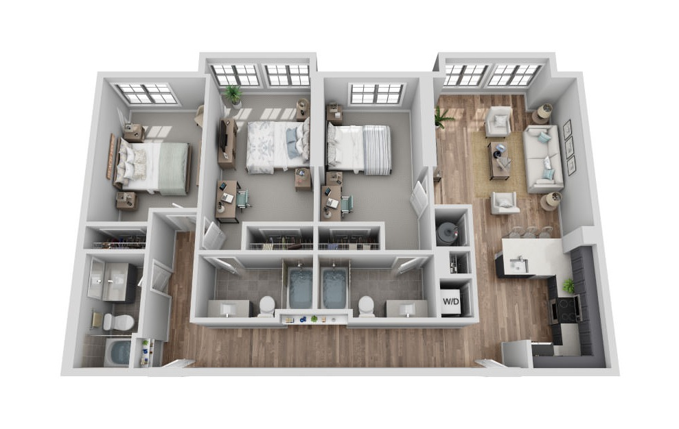 B-3A2 - 3 bedroom floorplan layout with 3 baths and 1417 square feet. (3D)