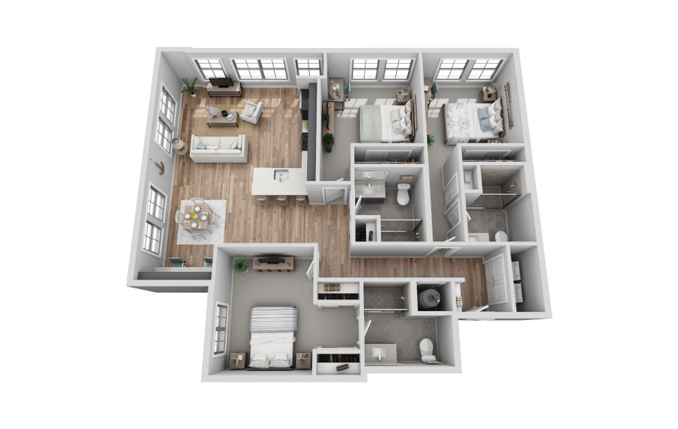 B-3E1 - 3 bedroom floorplan layout with 3 baths and 1624 square feet. (3D)