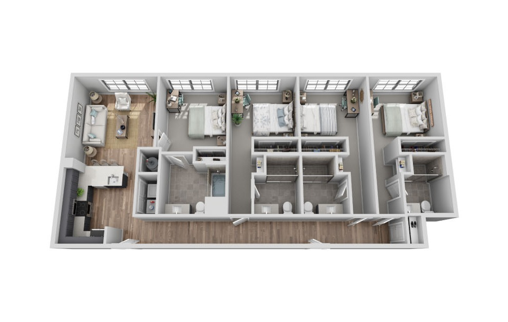 B-4B2 - 4 bedroom floorplan layout with 4 baths and 1800 square feet. (3D)