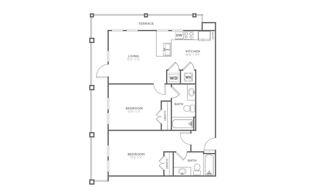 A-2E2 - 2 bedroom floorplan layout with 2 baths and 1015 square feet.