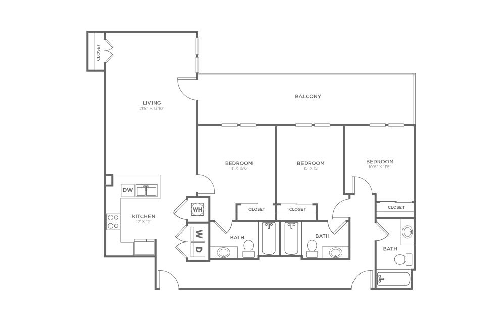 A-3A2 - 3 bedroom floorplan layout with 3 baths and 1433 square feet.