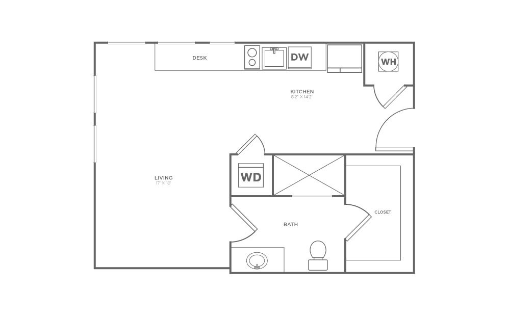 A-SA3 - Studio floorplan layout with 1 bath and 526 square feet.