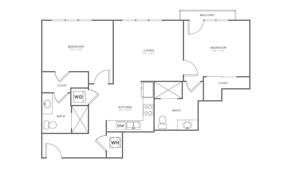 A-2C4 - 2 bedroom floorplan layout with 2 baths and 968 square feet.