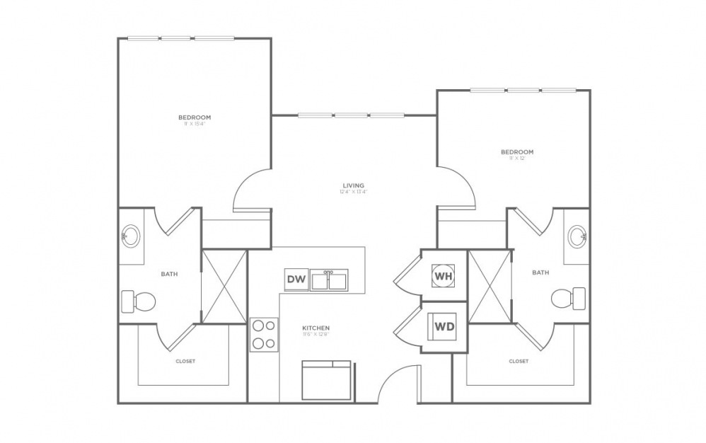 B-2A5 - 2 bedroom floorplan layout with 2 baths and 1005 square feet.