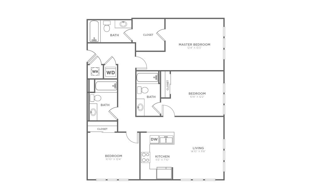 B-3B2 - 3 bedroom floorplan layout with 3 baths and 1312 square feet.