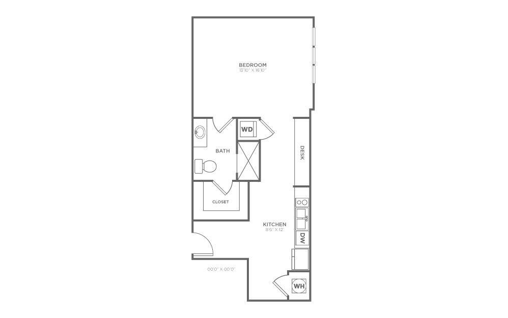 B-SC2 - Studio floorplan layout with 1 bath and 620 square feet.