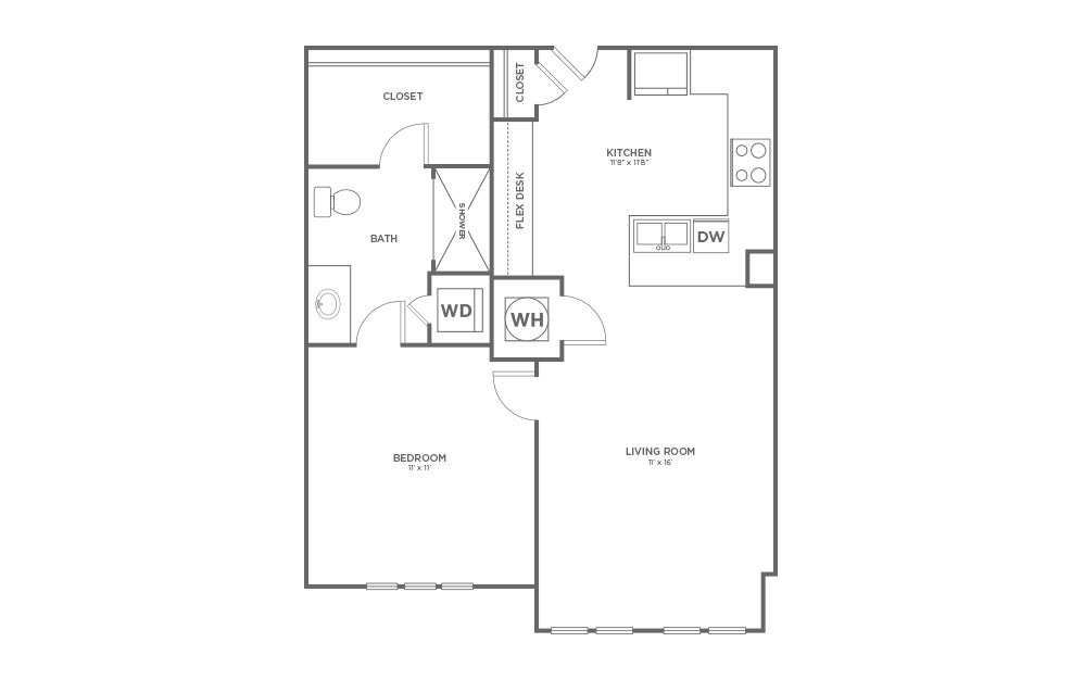 A-1A1 - 1 bedroom floorplan layout with 1 bath and 682 square feet.