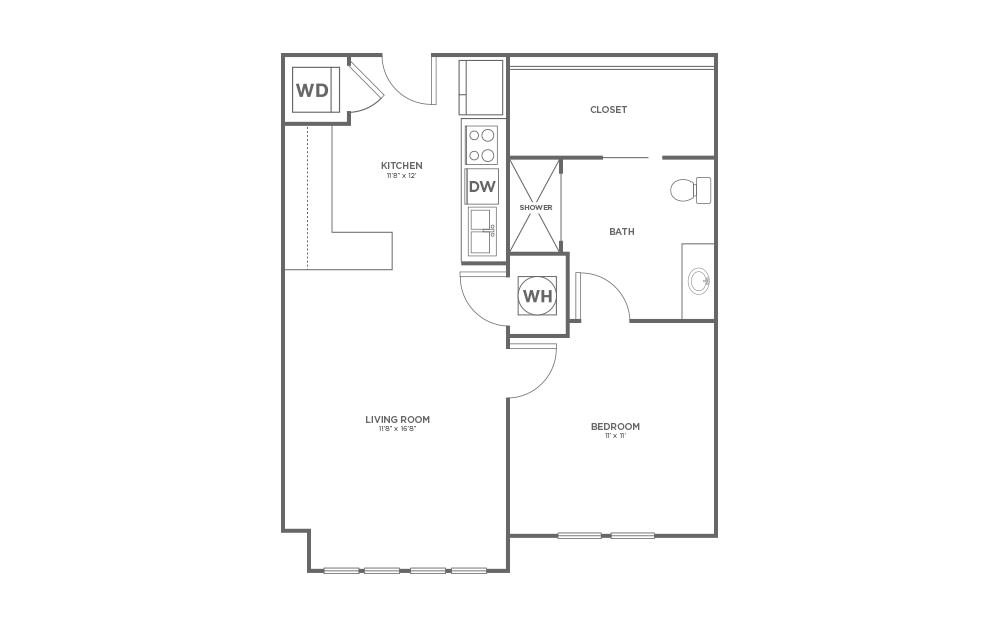 A-1A1 ANSI - 1 bedroom floorplan layout with 1 bath and 682 square feet. (2D)