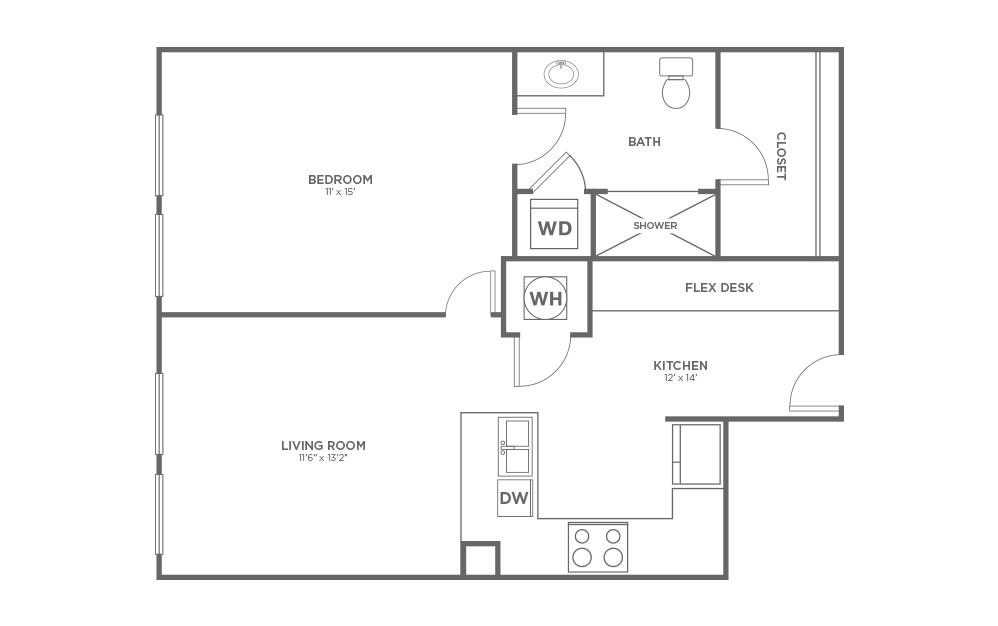 A-1B1 - 1 bedroom floorplan layout with 1 bath and 706 square feet.