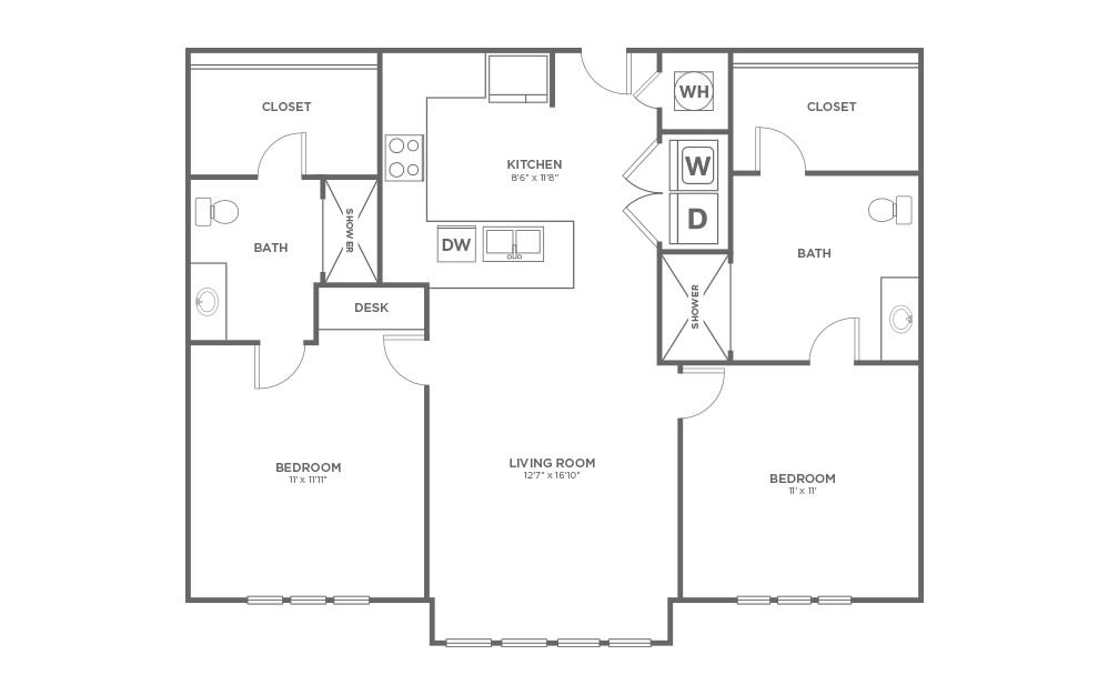 A-2A1 ANSI - 2 bedroom floorplan layout with 2 baths and 1009 square feet.