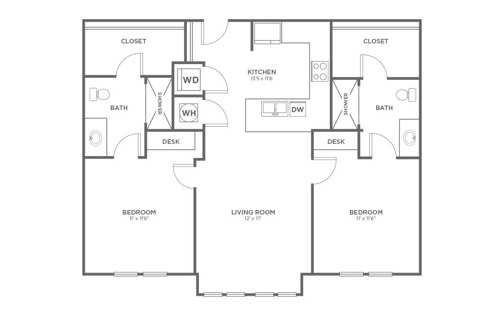 A-2A1 - 2 bedroom floorplan layout with 2 baths and 1009 square feet. (2D)