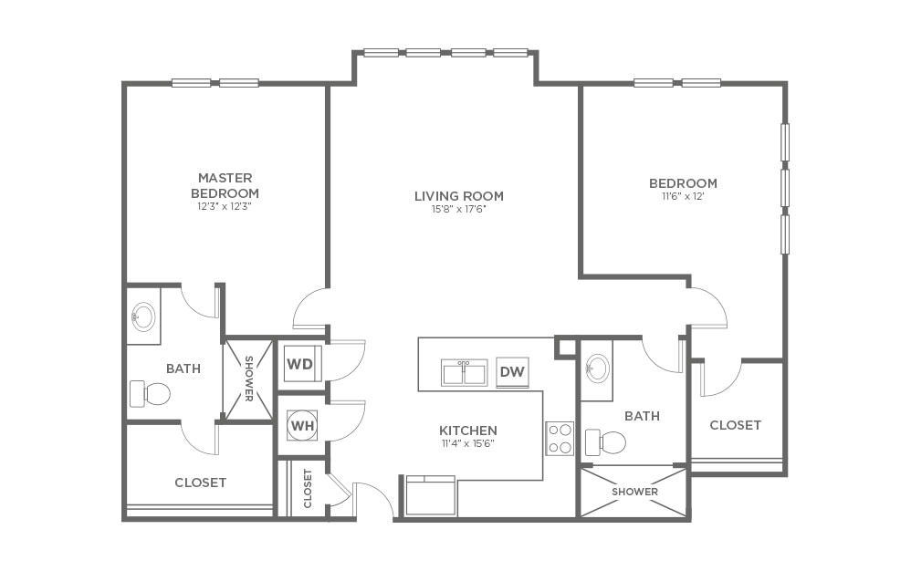A-2B1 - 2 bedroom floorplan layout with 2 baths and 1181 square feet.