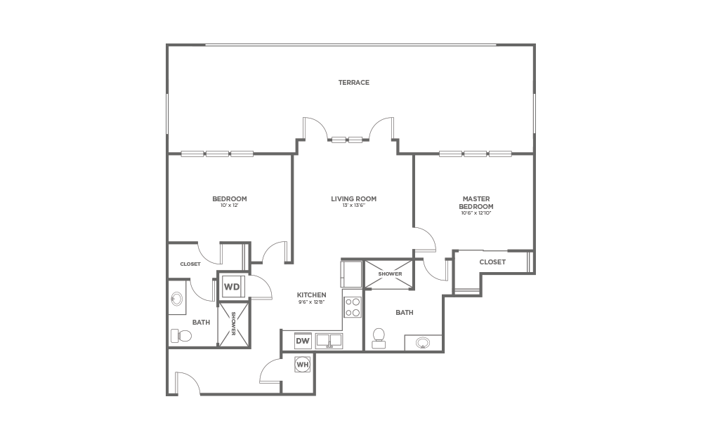 A-2C1 - 2 bedroom floorplan layout with 2 baths and 973 square feet.