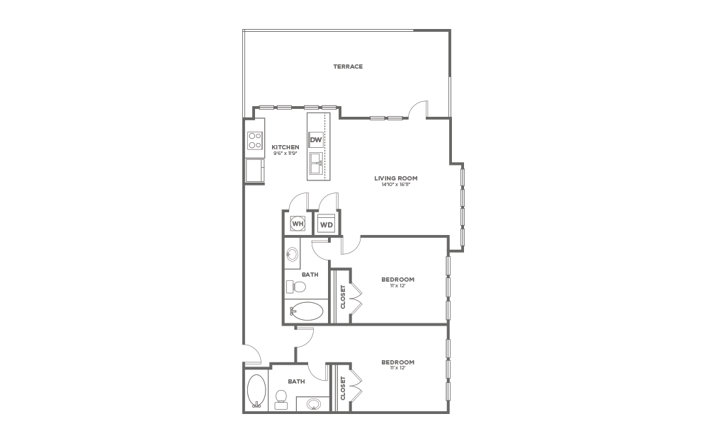A-2D1 - 2 bedroom floorplan layout with 2 baths and 1086 square feet.
