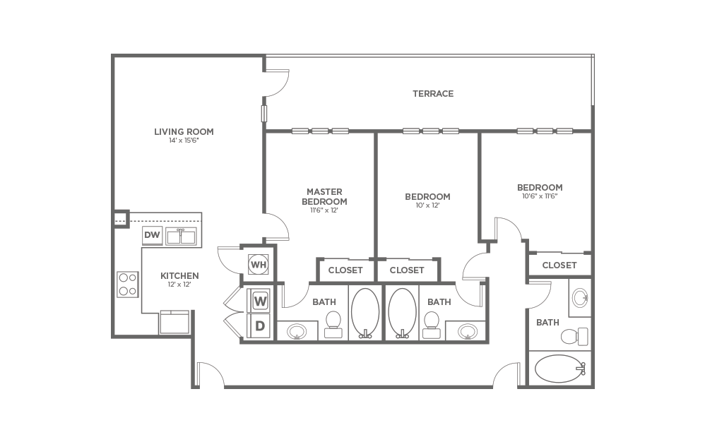 A-3A1 - 3 bedroom floorplan layout with 3 baths and 1326 square feet.