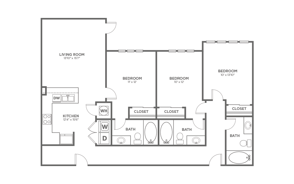 A-3A1 ANSI - 3 bedroom floorplan layout with 3 baths and 1326 square feet.