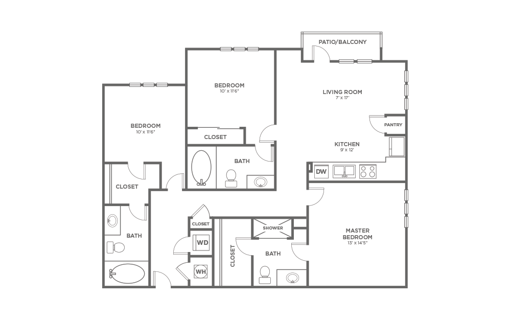 A-3B1 - 3 bedroom floorplan layout with 3 baths and 1313 square feet.