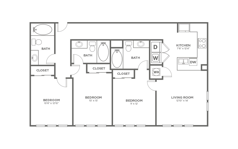 A-3C1 ANSI - 3 bedroom floorplan layout with 3 baths and 1268 square feet.