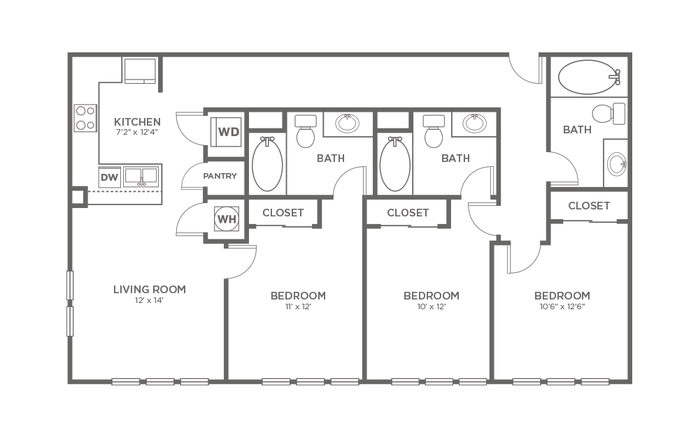 A-3C1 - 3 bedroom floorplan layout with 3 baths and 1268 square feet.