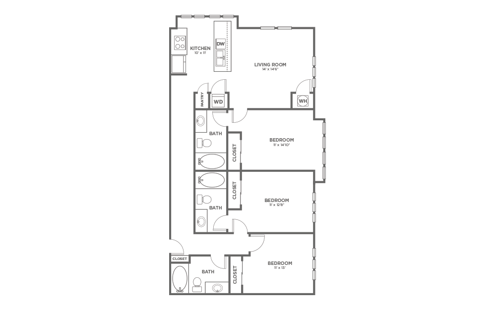 A-3D - 3 bedroom floorplan layout with 3 baths and 1397 square feet.