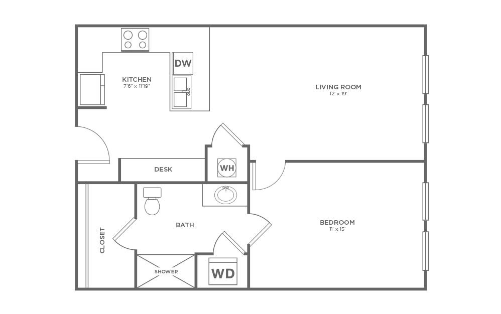 B-1A1 ANSI - 1 bedroom floorplan layout with 1 bath and 687 square feet.