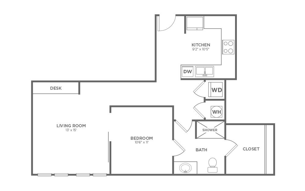 B-1B1 - 1 bedroom floorplan layout with 1 bath and 710 square feet.