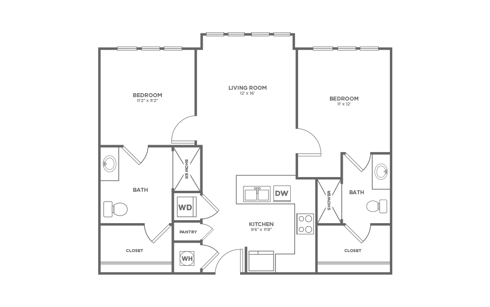 B-2A1 ANSI - 2 bedroom floorplan layout with 2 baths and 1012 square feet.