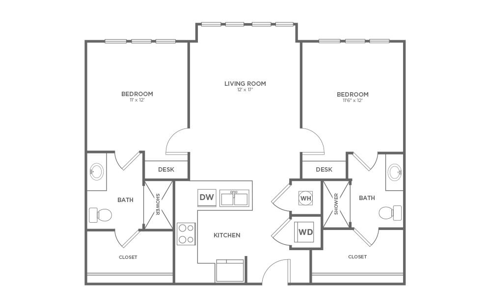 B-2A1 - 2 bedroom floorplan layout with 2 baths and 1012 square feet.