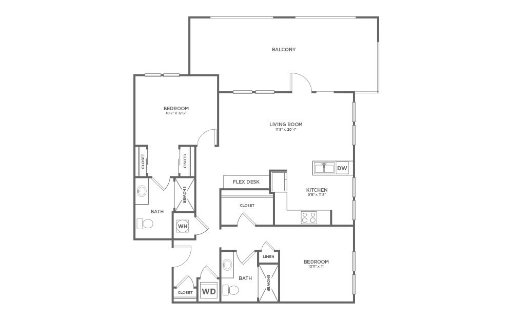 B-2D1 - 2 bedroom floorplan layout with 2 baths and 1115 square feet.