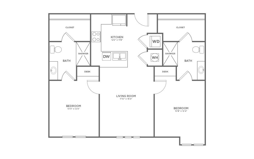 B-2F - 2 bedroom floorplan layout with 2 baths and 1009 square feet.