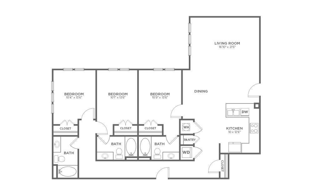 B-3A1 - 3 bedroom floorplan layout with 3 baths and 1680 square feet.