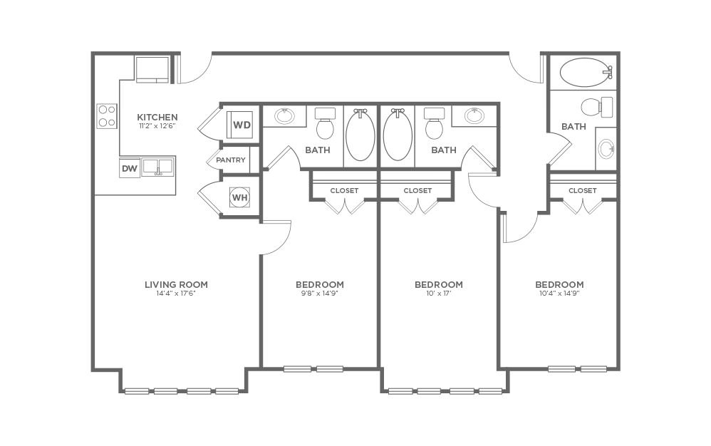 B-3A2 - 3 bedroom floorplan layout with 3 baths and 1417 square feet. (2D)