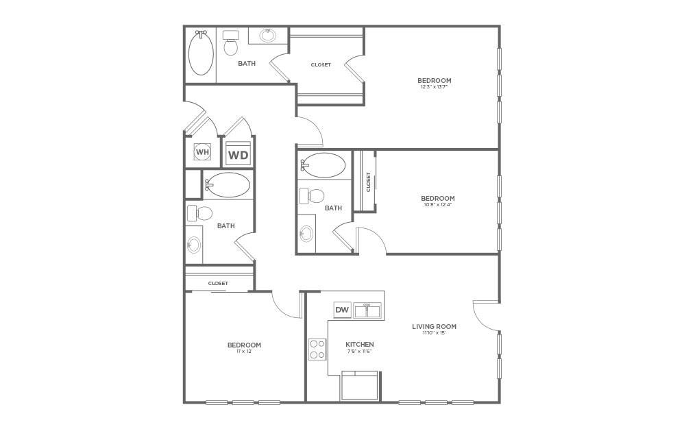 B-3B1 - 3 bedroom floorplan layout with 3 baths and 1329 square feet.