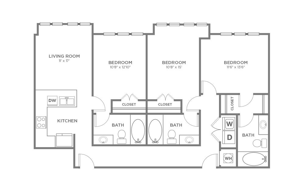 B-3C1 - 3 bedroom floorplan layout with 3 baths and 1377 square feet.