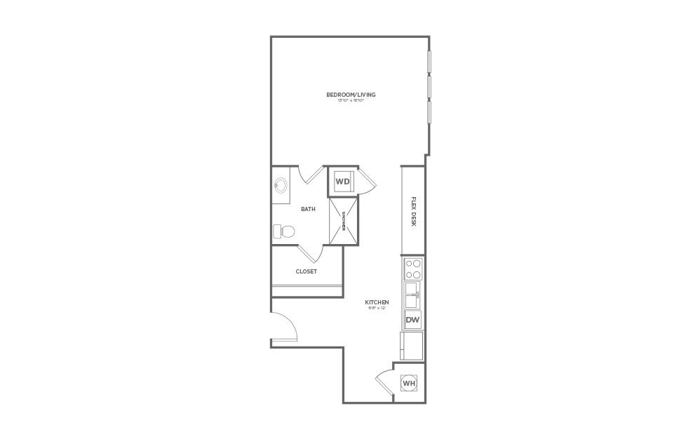 B-3C2 - Studio floorplan layout with 1 bath and 1349 square feet.