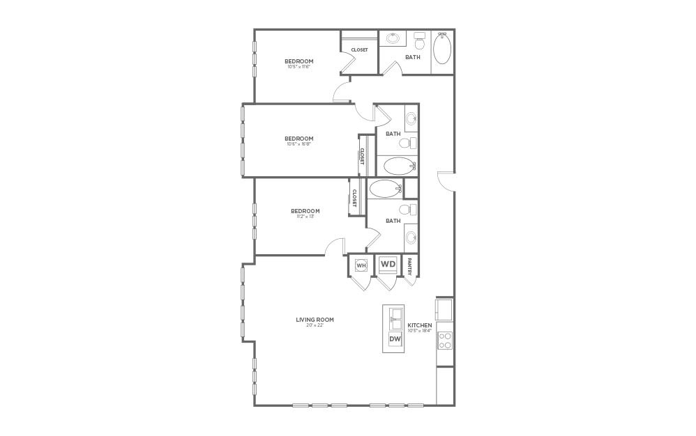 B-3D1 ANSI - 3 bedroom floorplan layout with 3 baths and 1624 square feet.