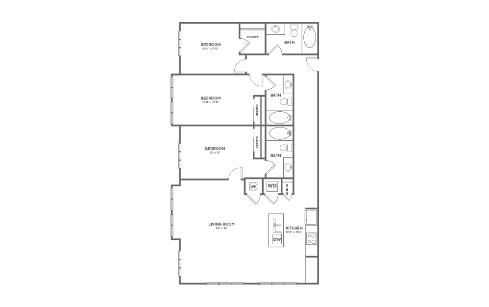 B-3D1 - 3 bedroom floorplan layout with 3 baths and 1624 square feet.