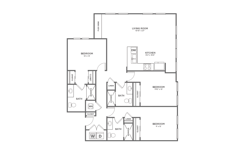 B-3E1 - 3 bedroom floorplan layout with 3 baths and 1624 square feet. (2D)