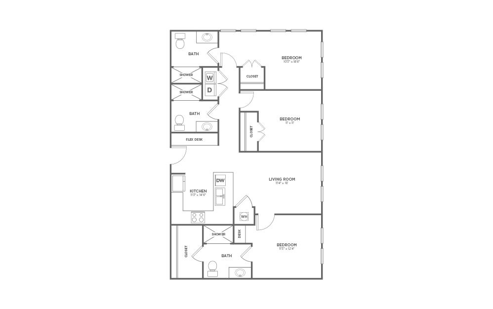 B-3G1 - 3 bedroom floorplan layout with 3 baths and 1291 square feet.
