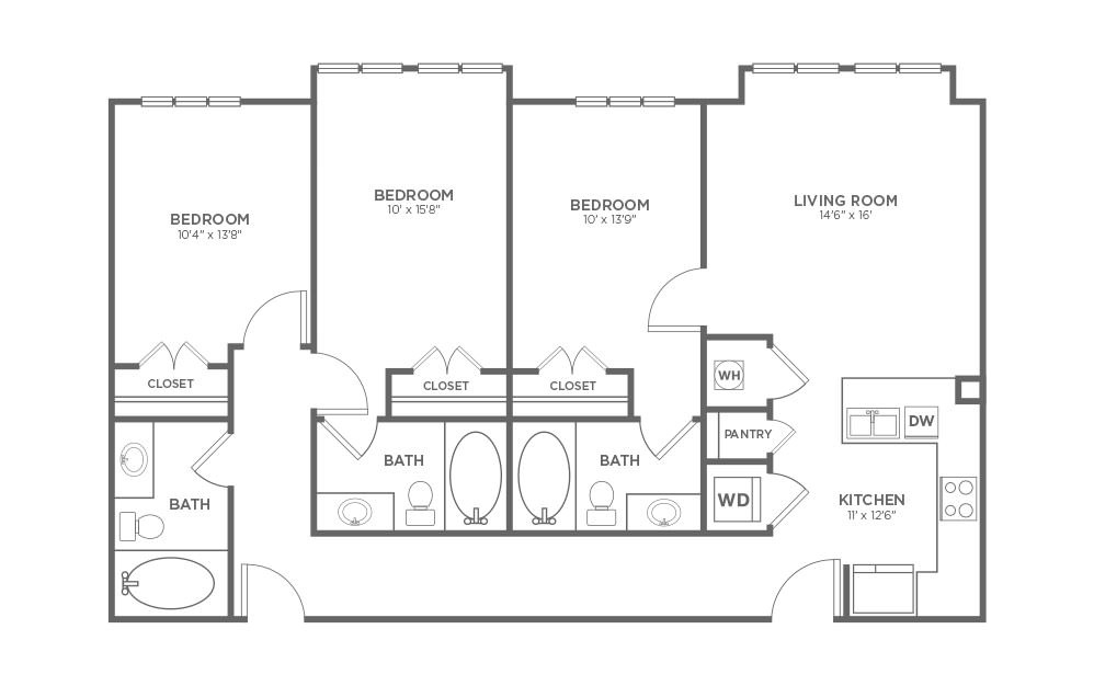 B-3H - 3 bedroom floorplan layout with 3 baths and 1351 square feet.