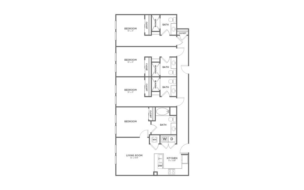 B-4B2 - 4 bedroom floorplan layout with 4 baths and 1800 square feet. (2D)