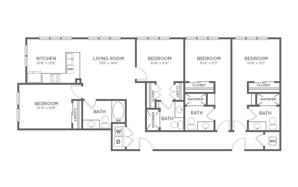 B-4C3 - 4 bedroom floorplan layout with 4 baths and 1704 square feet.