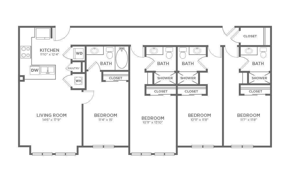 B-4D - 4 bedroom floorplan layout with 4 baths and 1776 square feet.