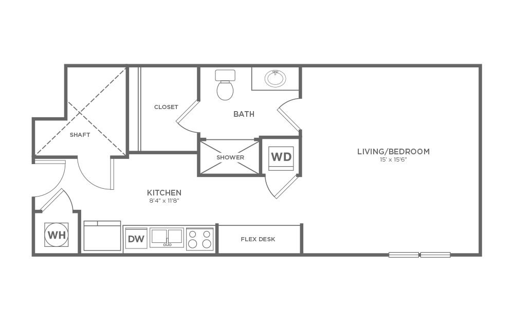 B-SC1 - Studio floorplan layout with 1 bath and 570 square feet.