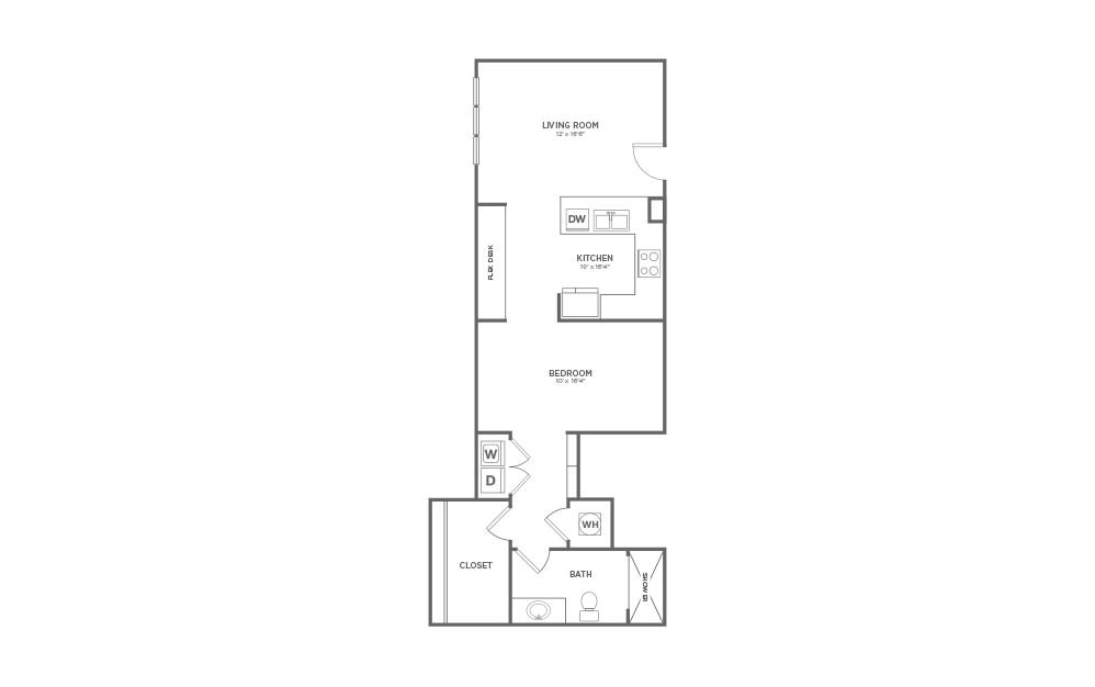 B-SC3 - Studio floorplan layout with 1 bath and 915 square feet.