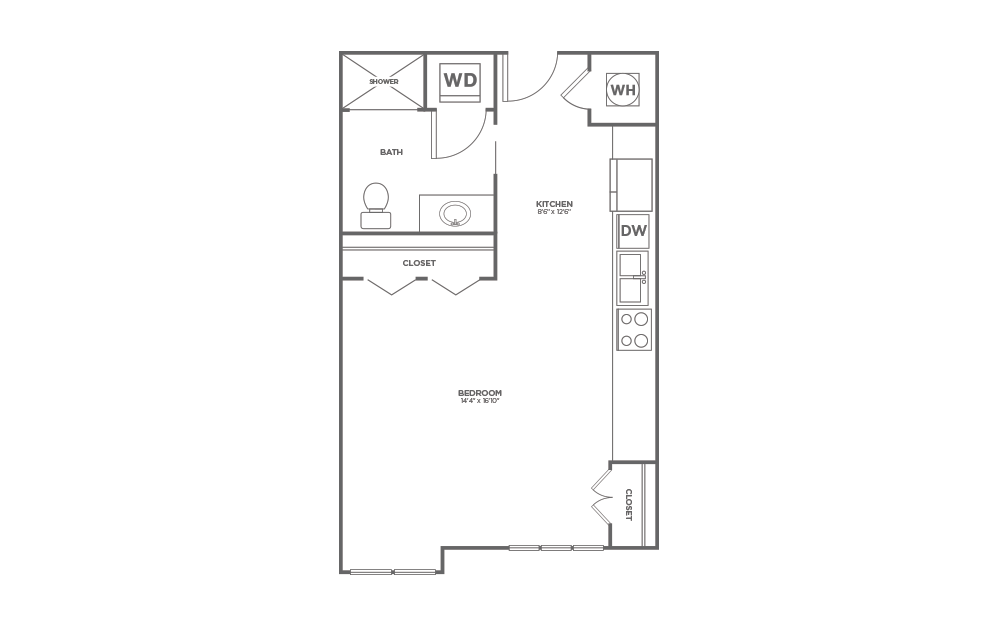 B-SD - Studio floorplan layout with 1 bath and 513 square feet.