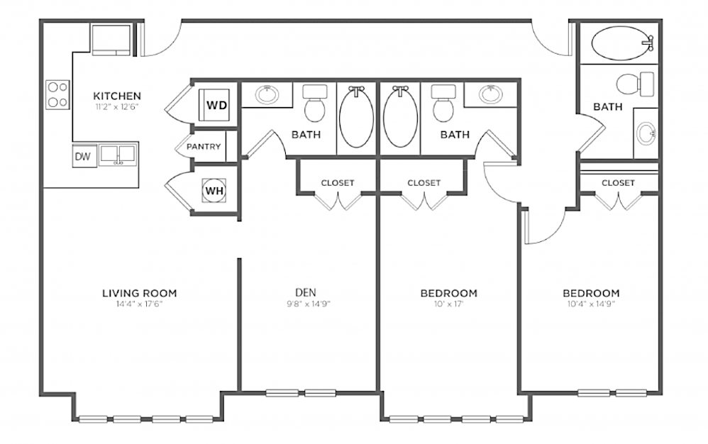 A-2D3 - 2 bedroom floorplan layout with 3 baths and 1433 square feet.