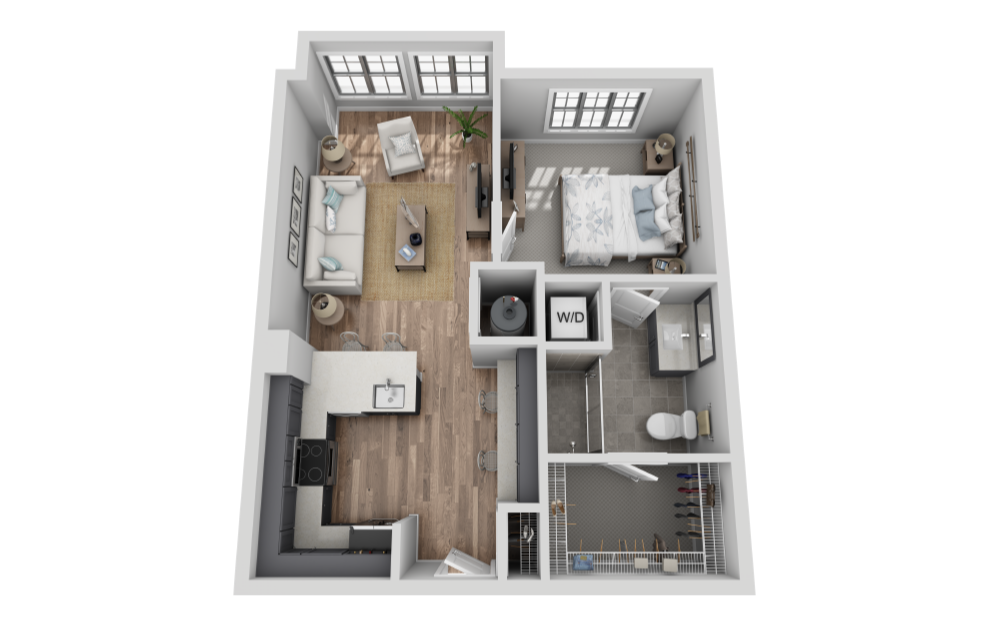 A-1A1 - 1 bedroom floorplan layout with 1 bath and 682 square feet. (3D)